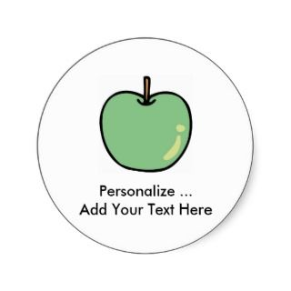 Green Apple Fruit Round Stickers