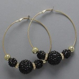 Hot Basketball Wives Poparazzi Mesh Ball Medium Hoop Earrings Gold AB