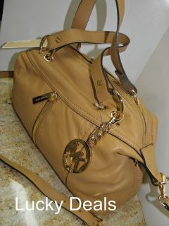 Michael Kors Moxley Large Shoulder Satchel Handbag Bag Leather Tan New