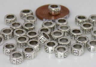 Hole Heishi Antiqued Silver Pewter Metal Rondelle Beads 25