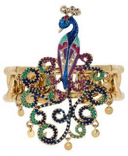 Betsey Johnson Bracelet, Gold Tone Multi Color Peacock Stretch