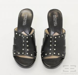 Michael Michael Kors Black Leather Studded Slide Heels Size 5 5