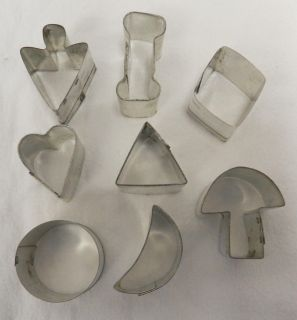 of 8 Miniature Small Metal Shapes Jelly Cookie Cutter Tin Set