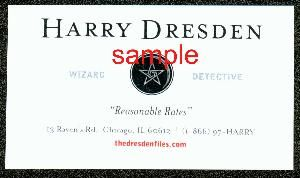 Harry Dresden Business Card San Diego Comic Con PROMO ITEM NEW