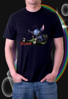 Disney Lilo Stitch Cartoon Black T Shirt New Cute s 3XL