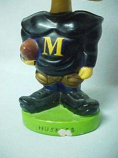 Rare old Michigan Tech Huskies football player bobblehead nodder, made