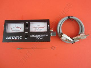Astatic PDC2 Dual Meter SWR Power w 3 RG 8x Jumper Cable New