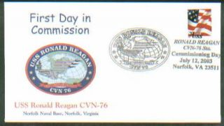 2003 USS Ronald Reagan CVN 76 Navy Commission Day FDC