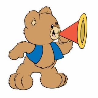Teddy Bear with Megaphone Photo Cut Out