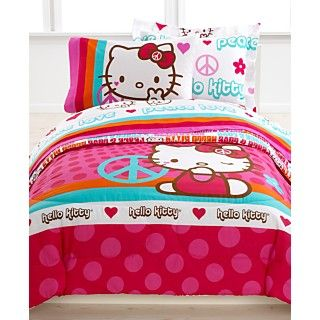 Hello Kitty Bedding, Peace Kitty Reversible Mini Comforter Sets   Bed