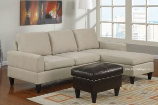 Mushroom Beige Microfiber Sectional Sofa And Ottoman Set F7283 Couch