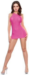 Sexy Party Girl Halter Mini Dress Dance Club Wear G String Set See