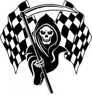 Racing Grim Reaper Skull Chequered Flags Car Sticker 3