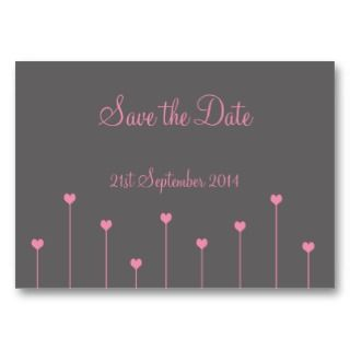 Save the Date Cards Pink Love Hearts Business Cards