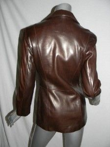Michael Hoban North Beach Leather Dark Brown Blazer Style Jacket Coat