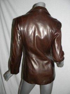 Michael Hoban North Beach Leather Dark Brown Blazer Style Jacket Coat