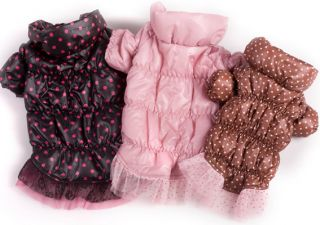 New Teddy Princess Dog Pet Clothes Autumn Winter Cute Warm Fleece Dots