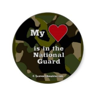 National Guard Heart Camo Round Sticker