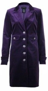 Sutton Studio Womens Purple 14W Long Velvet Military Jacket Coat