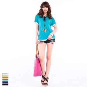 Hmall Korean Fashion Trend H Round Neck Point T Shirts 7Colors