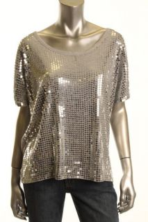 Michael Kors New Gray Sequined Drapey T Shirt L BHFO