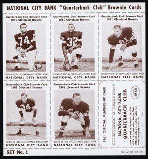 1961 National City Bank Cleveland Browns Complete Set