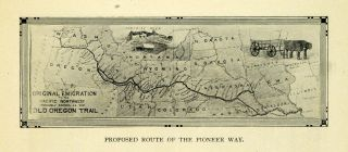 Pioneer Way Route Plan Antique Map Midwest   ORIGINAL HISTORIC IMAGE