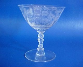 Fostoria Crystal Chintz Low Sherbet Etched Glass 4 3 8 inch Clear