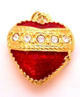 Rhinestone Red Heart Pendant Trinket Box by Mike Ally