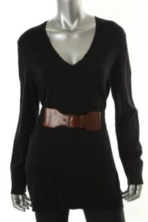Michael Kors New Navy V Neck Long Sleeve Belted Tunic Sweater Top L
