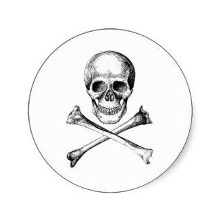 Skull and Cross Bones   Grey Round Stickers