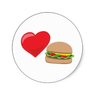Burger Love! Customizable: Round Sticker