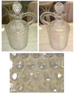 Mid 1800s Clear Glass Hobnail Decanter Twisted Handle