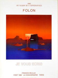 Jean Michel Folon Je Vous Ecris Exhibition Serigraph