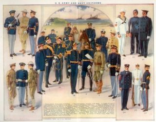 Wrights Lithograph 1912 U s Army Navy Uniforms