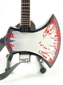 Miniature Guitar Gene Simmons KISS Blood AXE Bass & Strap