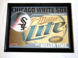 Miller Lite Beer Chicago White Sox Baseball Mirror Sign