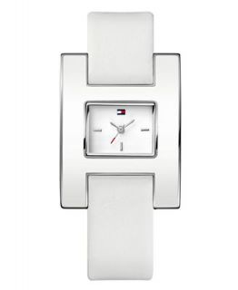 Tommy Hilfiger Watch, Womens White Leather Strap 1781099