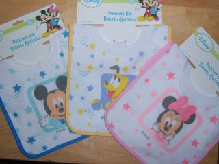 Mickey Mouse Minnie or Pluto Pull Over Bib Baby Shower Diaper Cake