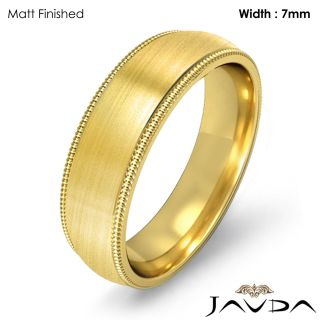 10 2G 8z Men Wedding Band Ring Dome Milgrain 7mm Gold Y 18K Solid