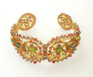 Miguel Ases Orange Green Beaded Cuff Bracelet