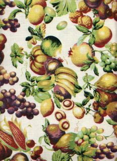 Harvest Fall Festival Fruit Nuts Vegetables Polyester Fabric