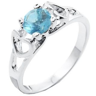 Mother Daughter Aquamarine Blue CZ Ring Sizes 4 8 Warranty
