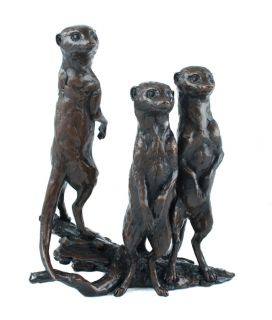 Edition Hot Cast Bronze Sculpture Micheal Simpson Meerkat Group