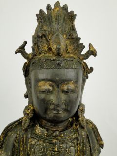 Antique Chinese Ming Dynasty Gilt Bronze Guanyin Buddha Holding Baby