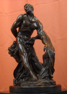 Milo of Croton Bronze Statue Puget Nude Greek Wrestler