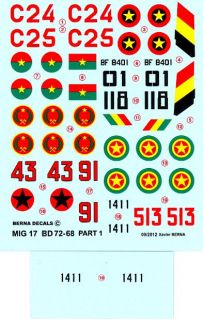 Berna Decals 1 72 Mikoyan MIG 17 Fresco Fighter African Air Forces