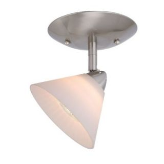 NEW 1 Light Ceiling Spot Lighting Fixture, Brushed Nickel, White Glass