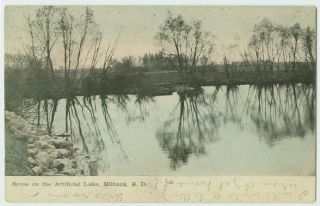 080307 Scene on Artificial Lake Milbank SD Postcard 1910