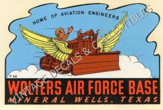 Vintage Wolters Air Force Base Mineral Wells Texas WWII Travel Decal